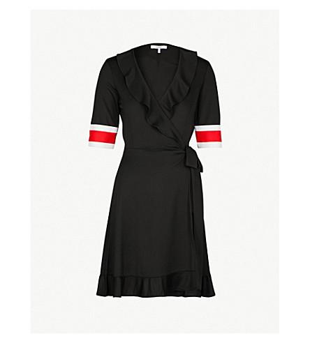 GANNI Dubois piqué wrap dress (Black