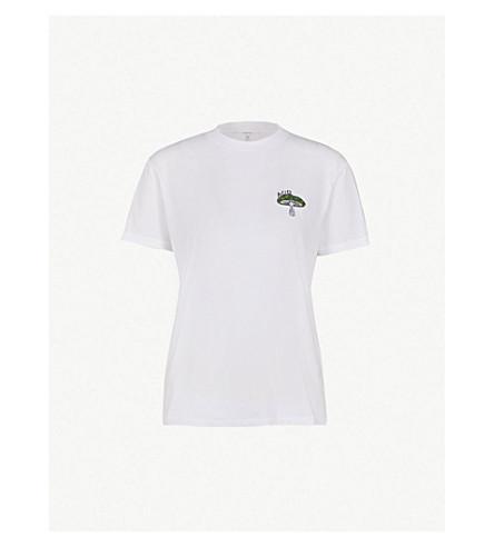 GANNI Harway 酸平纹针织棉 T 恤 (亮 + 白