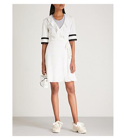 GANNI Dubois piqué wrap dress (Egret