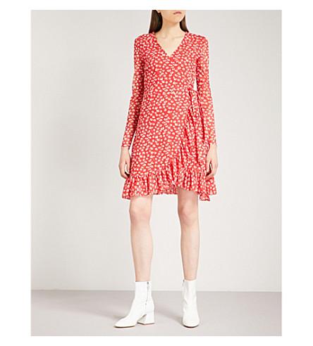 GANNI Tilden mesh wrap dress (Fiery+red