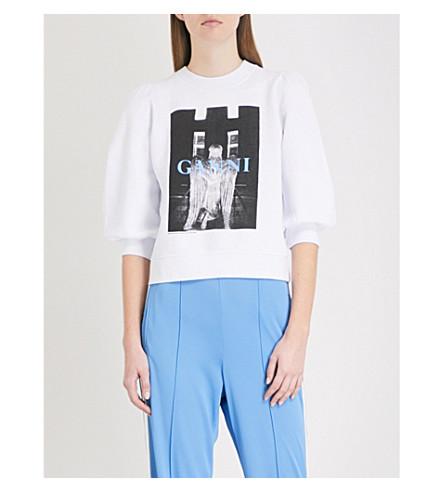 GANNI Isoli cotton-jersey sweatshirt (Bright+white