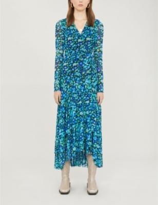 Floral-print wrap over stretch-mesh maxi dress