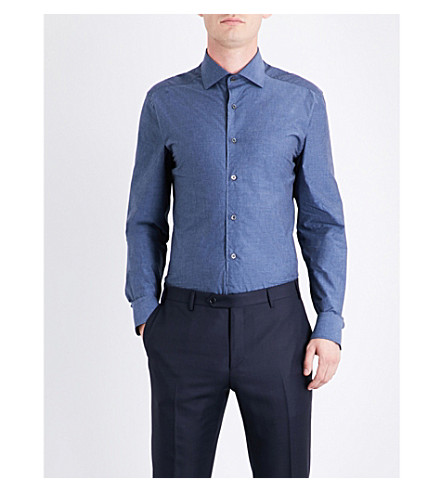 CORNELIANI Linen-pattern tailored-fit cotton shirt (Indigo