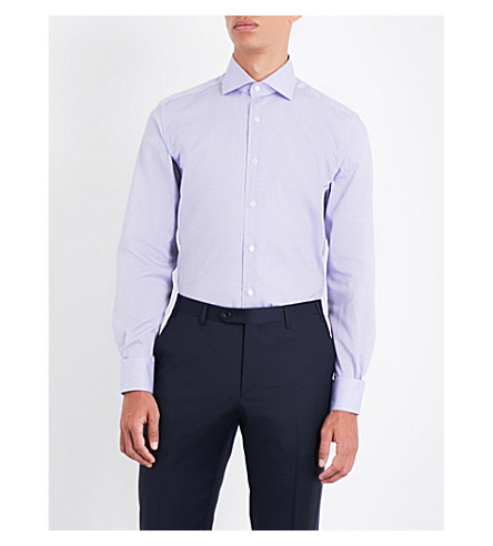 CORNELIANI Mini gingham regular-fit cotton-poplin shirt (Navy