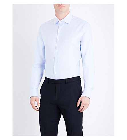 CORNELIANI Micro herringbone-pattern tailored-fit cotton shirt (Pale+blue