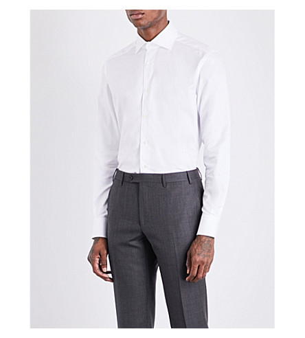 CORNELIANI Micro herringbone-pattern tailored-fit cotton shirt (White