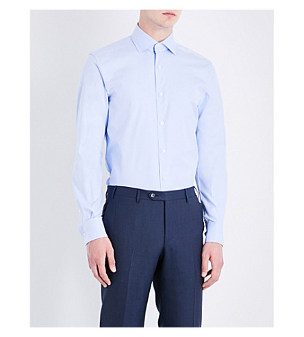 CORNELIANI Slim-fit cotton-twill shirt (Pale+blue