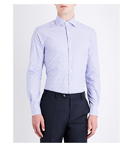 CORNELIANI Checked cotton shirt (Blue