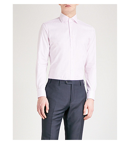 CORNELIANI Tailored-fit cotton shirt (Pink