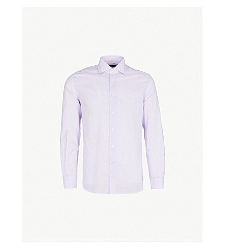 CORNELIANI Patterned tailored-fit cotton-blend shirt (Lilac