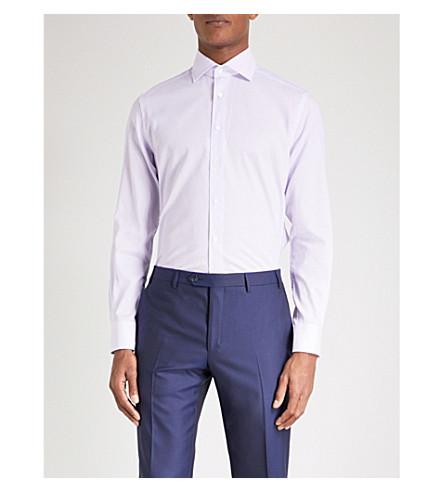 CORNELIANI Patterned tailored-fit cotton-blend shirt (Lilac