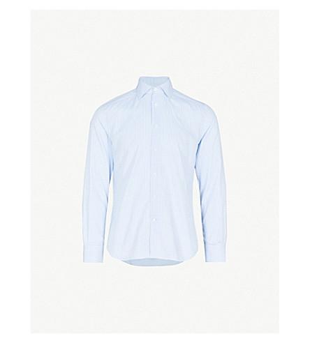 CORNELIANI Gingham tailored-fit cotton shirt (Blue
