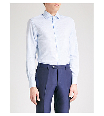 CORNELIANI Gingham tailored-fit cotton shirt (Blue