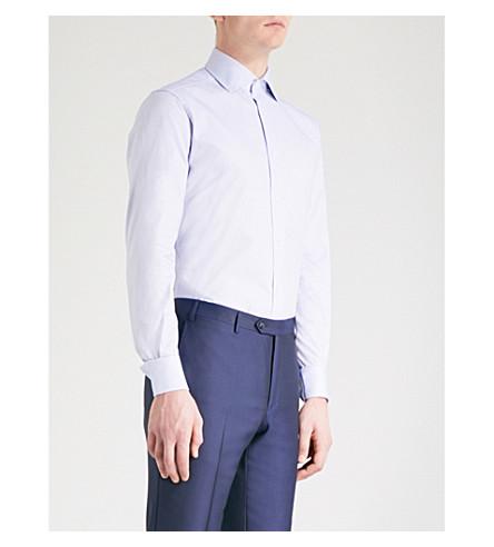 CORNELIANI Tailored-fit cotton shirt (Blue