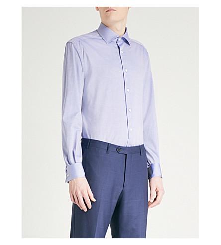 CORNELIANI Tailored-fit cotton-twill shirt (Blue