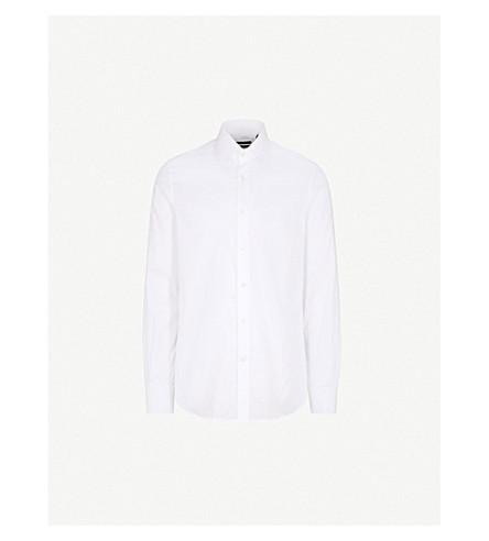 CORNELIANI Tailored-fit cotton-twill shirt (White