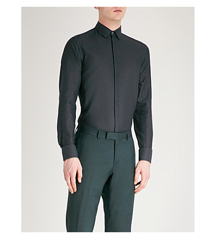 LANVIN Slim-fit metallic cotton shirt (Black