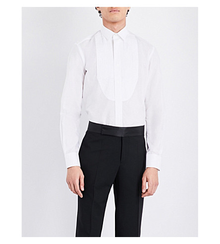 LANVIN Tailored-fit cotton and silk-blend evening shirt (White