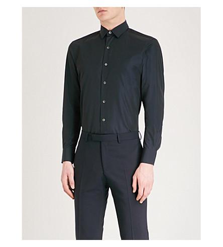 LANVIN Slim-fit cotton shirt (Navy+blue