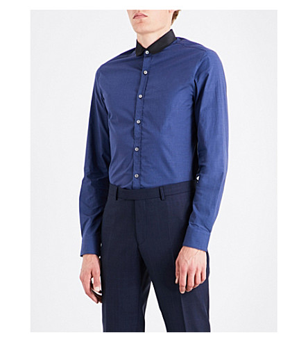 LANVIN Contrast-collar slim-fit cotton shirt (Black/dark+blue