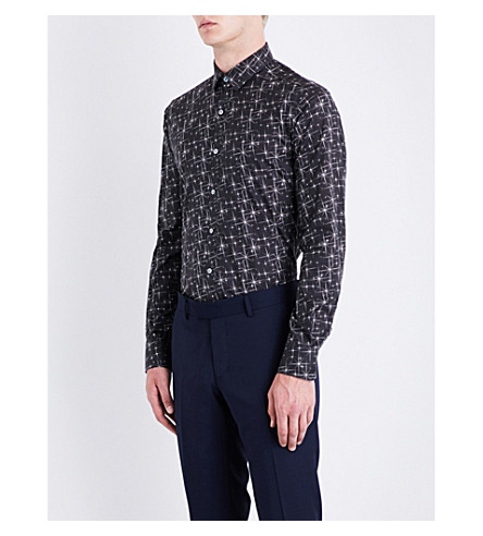 LANVIN Star-print slim-fit cotton shirt (Black