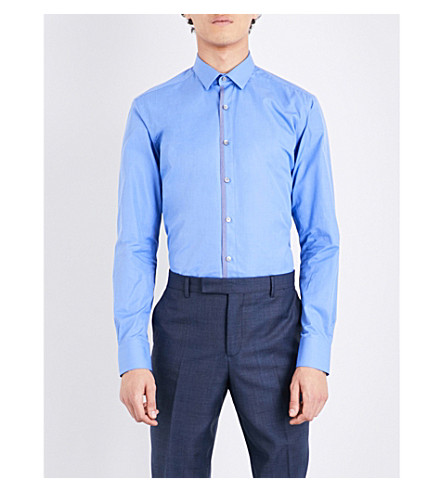 LANVIN Contrast-trim regular-fit cotton-blend shirt (Pristine+blue