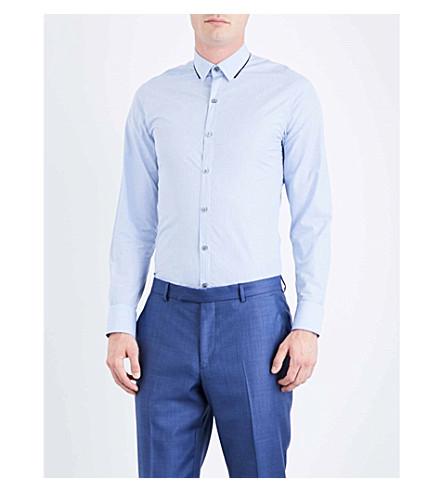 LANVIN Contrast-trim striped regular-fit cotton shirt (Blue