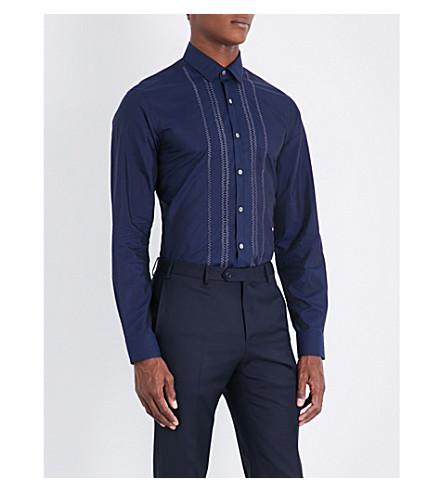 LANVIN Zigzag-stitching slim-fit cotton and silk-blend shirt (Navy+blue