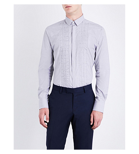 LANVIN Pleat-detail slim-fit cotton shirt (Pearl+grey