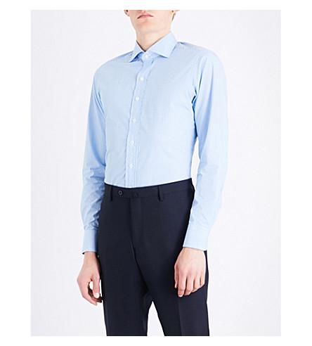 DRAKES Striped regular-fit cotton shirt (Aqua