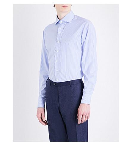 DRAKES Regular-fit Bengal stripe cotton-poplin shirt (Sky