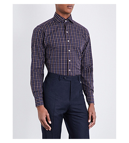 DRAKES Regular-fit checked cotton-poplin shirt (Nvy/brwn