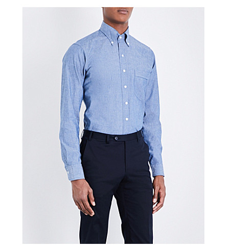 DRAKES Regular-fit chambray shirt (Chambray