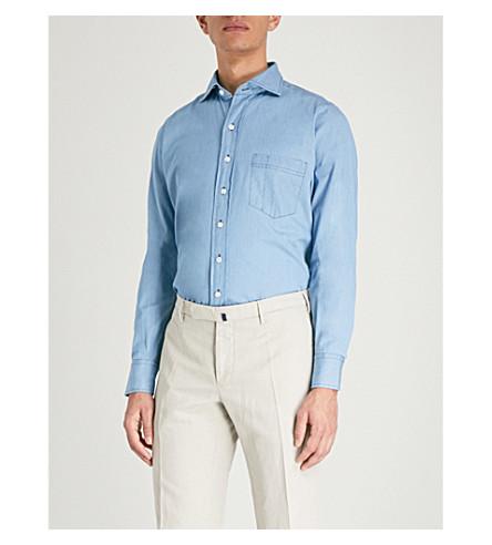 DRAKES Regular-fit chambray shirt (Blue