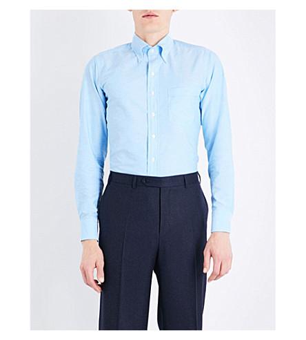 DRAKES Slim-fit button-down Oxford shirt (Aqua