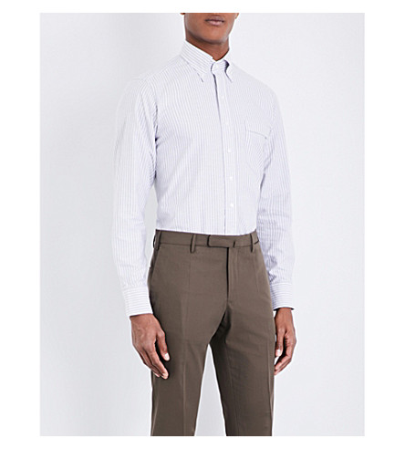 DRAKES Slim-fit striped Oxford shirt (Grey