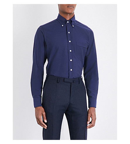 DRAKES Regular-fit cotton Oxford shirt (Navy
