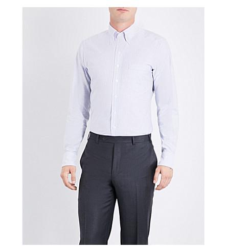 DRAKES Slim-fit Bengal stripe cotton Oxford shirt (Grey