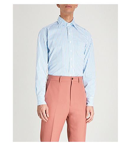 DRAKES Easyday Bengal-stripe regular-fit cotton shirt (Blue