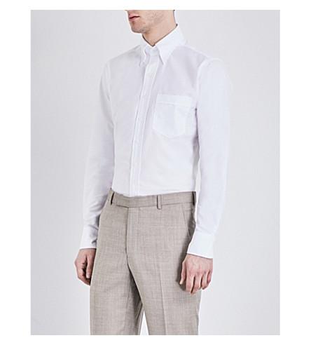 DRAKES Oxford linen shirt (White