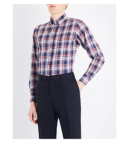 DRAKES Tablecloth-checked slim-fit cotton shirt (Blues