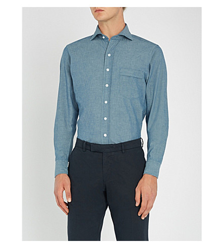 DRAKES Easyday 牛仔衬衫 (牛仔布