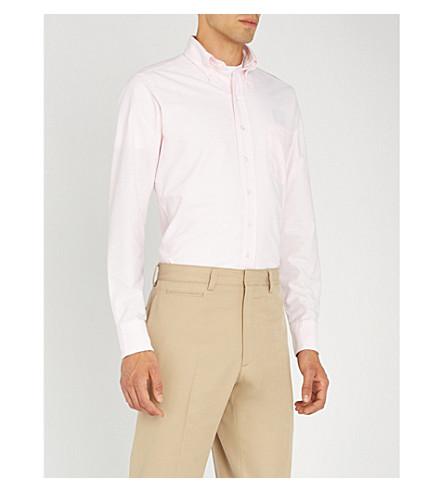 DRAKES Bengal striped slim-fit cotton oxford shirt (Pale pink