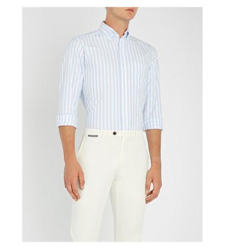 DRAKES 孟加拉条纹常规版型棉衬衫 (淡 + 蓝