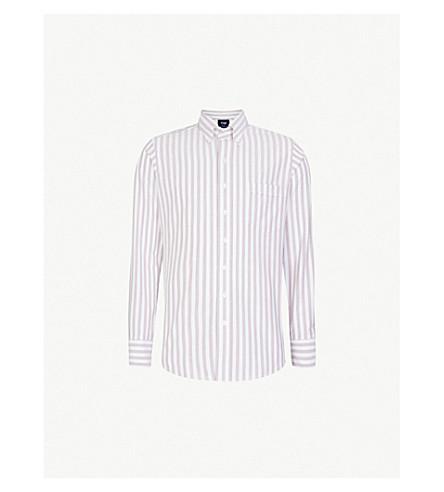 DRAKES Bengal striped regular-fit cotton shirt (White/red