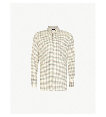 DRAKES Gingham checked slim-fit cotton shirt (Multi