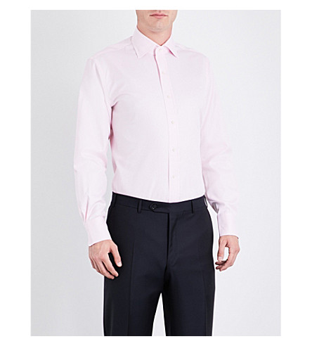 EMMETT LONDON Slim-fit cotton-twill shirt (Pink