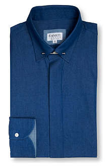 EMMETT LONDON Collar-bar chambray slim fit single cuff shirt