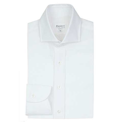 EMMETT LONDON Slim-fit airtex cotton shirt (White