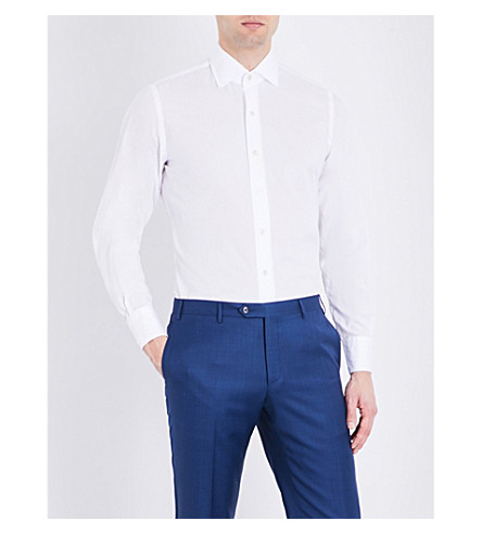 EMMETT LONDON Slim-fit twill cotton shirt (White